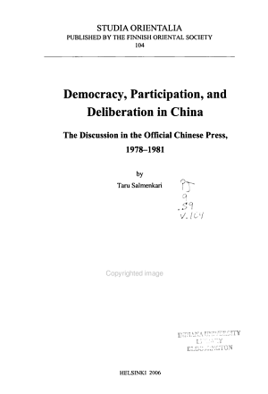 Democracy  Participation  and Deliberation in China PDF