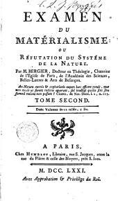 Examen du materialisme, ou, Réfutation du systême de la nature, 2