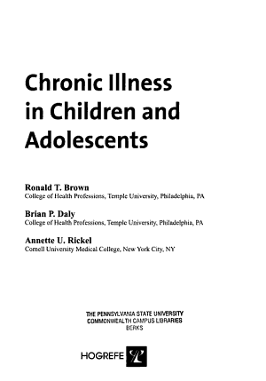 Chronic Illness in Children and Adolescents PDF