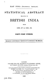 East India (Statistical Abstract): Statistical Abstract Relating to British India from 1840-1865[-, Issues 1896-1906