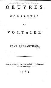 Oeuvres complètes de Voltaire: Volume40