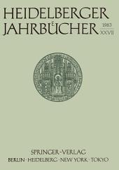 Heidelberger Jahrbücher: Band 27