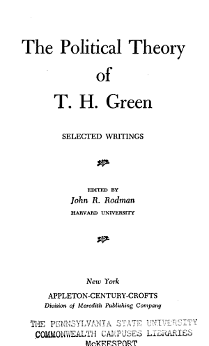 The Political Theory of T  H  Green  Selected Writings PDF