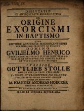 Disp. ... de origine exorcismi in baptismo