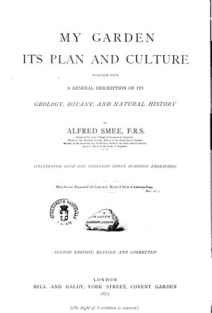 My Garden Its Plan and Culture by Alfred Smee PDF