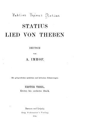 Statius Leid von Theben PDF