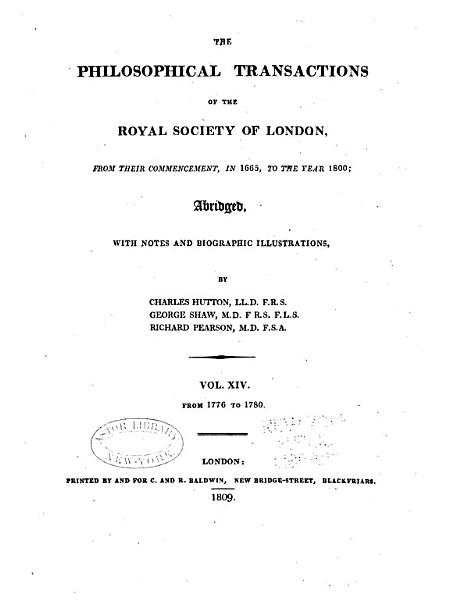 Download The Philosophical Transactions of the Royal Society of London from Their Commencement  in 1665  to the Year 1800    Book