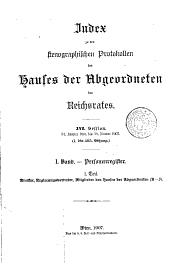 Stenographische Protokolle des Abgeordnetenhauses des Reichsrathes: Band 1,Teil 1;Band 17
