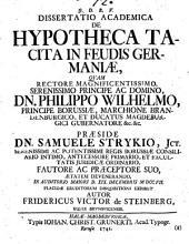 Dissertatio academica de hypotheca tacita in feudis Germaniae