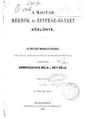 A Magyar Mérnök és Épitész Egylet közlönye: Volume 8