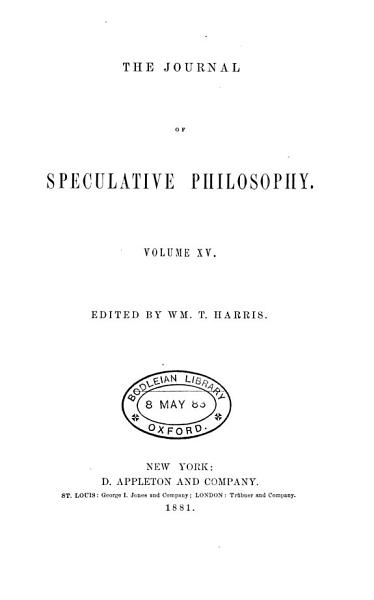 Download THE JOURNAL OF SPECULATIVE PHILOSPHY Book
