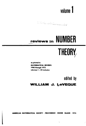 Reviews in Number Theory  as Printed in Mathematical Reviews  1940 Through 1972  Volumes 1 44 Inclusive