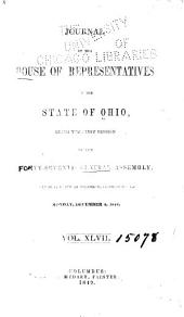 Journal of the House of Representatives ... General Assembly of Ohio ...: Volume 47