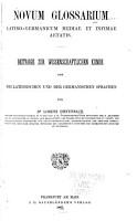Novum glossarium latino germanicum mediae et infimae aetatis PDF