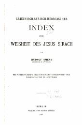Griechisch-syrisch-hebräischer Index zur Weisheit des Jesus Sirach
