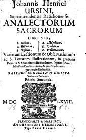 Analecta sacra: Libri 6