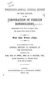 Report of the Council of the Corporation of Foreign Bondholders: Volume 20