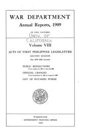 Annual Report of the Secretary of War: Volume 8
