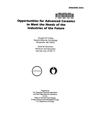 Opportunities for Advanced Ceramics to Meet the Needs of the Industries of the Future