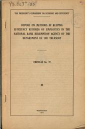Report on Methods of Keeping Efficiency Records of Employees in the National Bank Redemption Agency of the Department of the Treasury ...