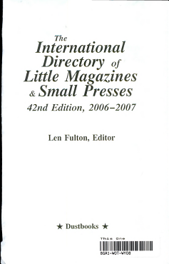 The International Directory Of Little Magazines And Small Presses 2006 2007 PDF
