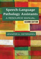 Speech Language Pathology Assistants PDF