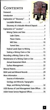 Mining claims and sites on federal lands