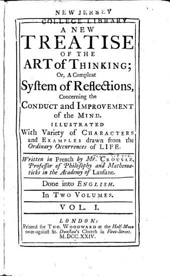 A New Treatise of the Art of Thinking  Or PDF