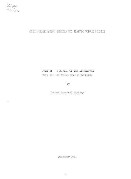 Origin Destination Surveys And Traffic Volume Studies