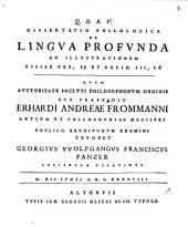 Diss. philol. de lingua profunda, ad illustrationem Esaiae, XXX, 19 et Ezech. III, 56