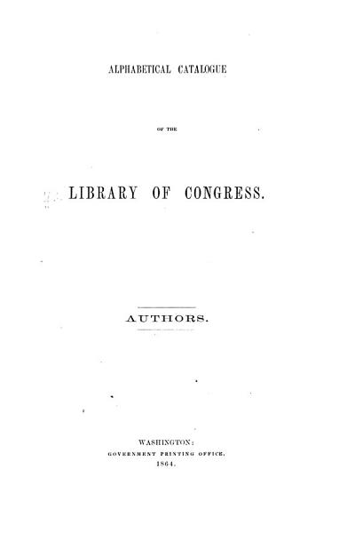 Download Catalogue of the Library of Congress Book