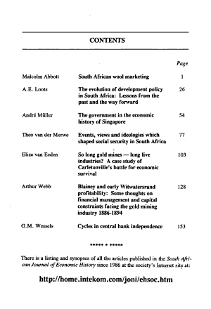 The South African Journal of Economic History PDF