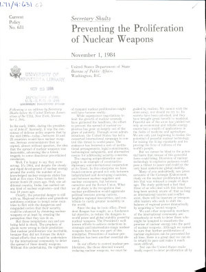 Preventing the Proliferation of Nuclear Weapons PDF