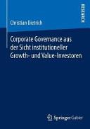 Corporate Governance aus der Sicht institutioneller Growth  und Value Investoren PDF