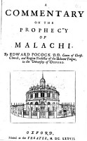 A Commentary on the Prophecy of Malachi  by Edward Pocock   With the Text   PDF