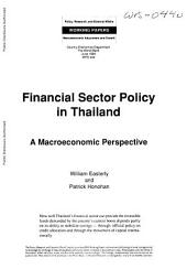 Financial Sector Policy in Thailand: A Macroeconomic Perspective