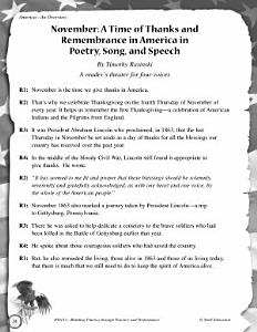 November  A Time of Thanks and Remembrance in America Reader s Theater Script PDF
