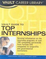 Vault Guide to Top Internships PDF