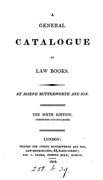 Download A General Catalogue of Law Books Book