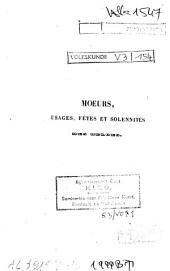 Moeurs, usages, fêtes et solennités des Belges
