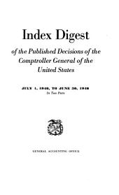Index Digest of the Published Decisions of the Comptroller General of the United States: Volume 940, Issue 46