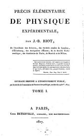 Précis élémentaire de physique expérimentale: Volume1