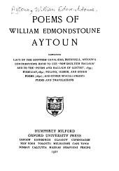 Poems of William Edmondstoune Aytoun