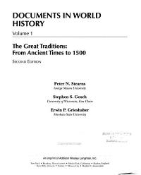Documents in World History  The great traditions  from ancient times to 1500 PDF