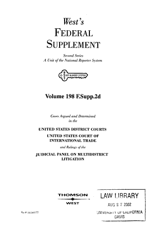 West's federal supplement. Second series
