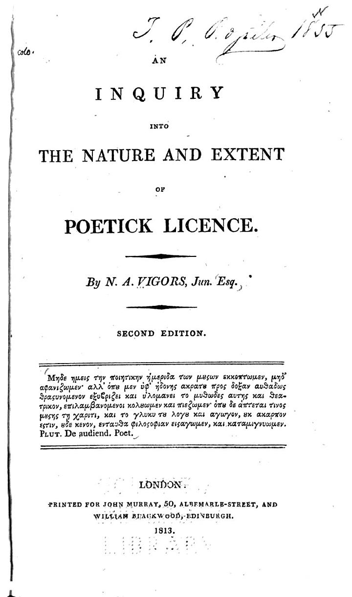 An Inquiry Into the Nature and Extent of Poetick Licence