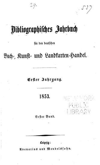Jahrbuch f  r den Deutschen Buch Kunst und Landkarten Handel PDF