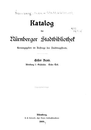 Katalog der N  rnberger Stadtbibliothek PDF