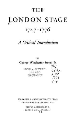 The London Stage  1747 1776 PDF