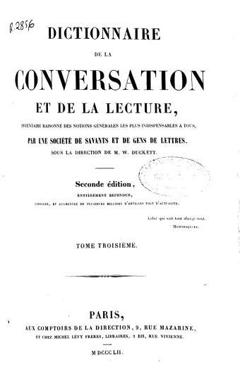 Dictionnaire de la conversation et de la lecture PDF